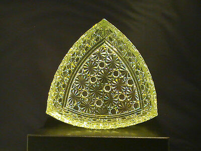 """6 """" Triangle """"Canary Yellow"""" Uranium Daisy and Button Glass Candy Dish"""