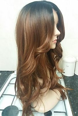 Brown Human Hair Wig, Real Hair, side fringe, Ombré, Brunette, Lace Front