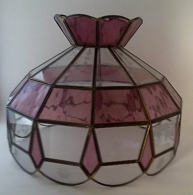 Stained Glass Lamp Shade Vintage Shade Or Hanging Clear Etched