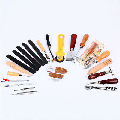 24 PCs Leather Craft Sewing Punch Tools Stitching Carving Working Saddle DIY Kit