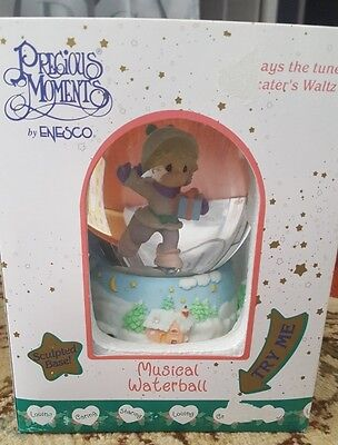 Precious Moments Snow globe skater waltz musical waterball christmas