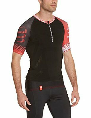 Compressport Trail Top di Compressione, Nero/Rosso, XL