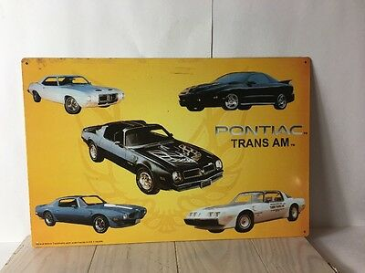 Vintage Pontiac Trans Am Sign Muscle Car History Metal Advertising Tin ~ USED