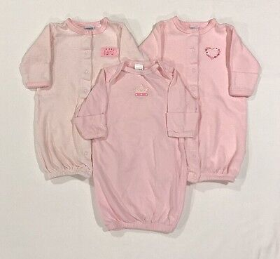 Little Me & Circo Baby Girl Pink Gown 3 Piece Lot Size 0-3 Months