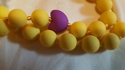 new yellow & purple food grade silicone teething, nursing necklace and braclet