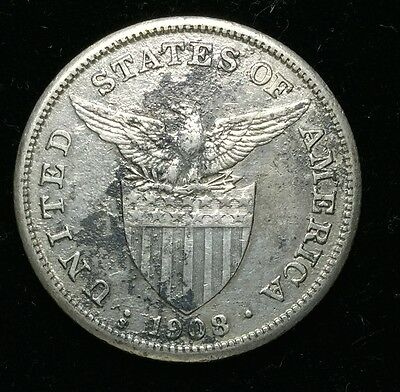 1908s US-Philippines 1 Peso Silver Coin - lot #20