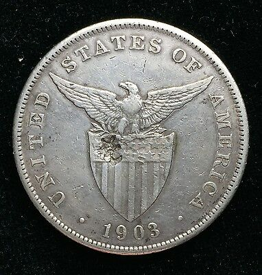 1903p Peso US-Philippines  Silver Coin w/ Chinese Chopmarks - lot#2