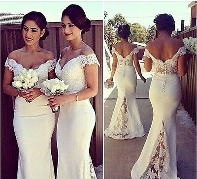 White Lace Off Shoulder Mermaid Bride Long Dress Evening Formal Gown Size 4