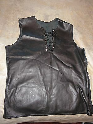 Hot! - Men's Leather, Lace Up Sleeveless Shirt- Gay Interest- Iml