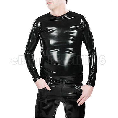 Sexy  Black Latex Rubber Men Catsuit Unique Club Wear Gummi 0.4mm
