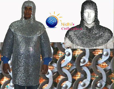 Medieval Armour Costumes Dress Chainmail Shirt With Hood Full Sleeve 09 Mm Sca