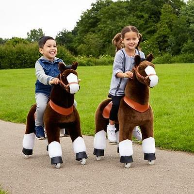 Ride-On CHILDREN Kid TOYS Rocking HORSES Flat Ground Indoor Outdoor Saddle Brown