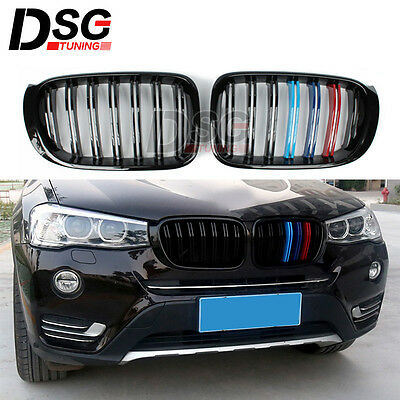 GRILL FOR BMW X3 F25 X4 F26 ABS Front Grille Glossy Black Dual Slat ///M  Grills