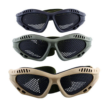 Tactical Protective Safety Goggles With Metal Mesh Sport Airsoft Glasses