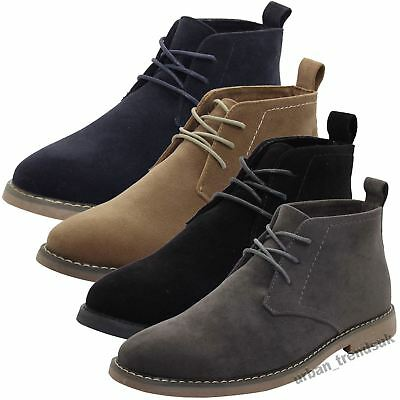 New Mens Outdoor Faux Suede Leather Style Desert Boots Block Heel High Top Shoes