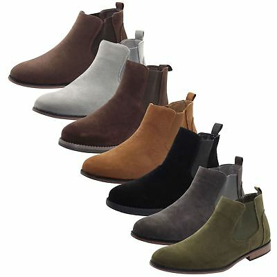 Mens Outdoor Suede Leather Style Chelsea Style Boot Block Heel High Top Shoe