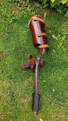 Great,RARE ,Antique,leather,wood and metal Prosthetic Leg,medical 1900's (nr 2)
