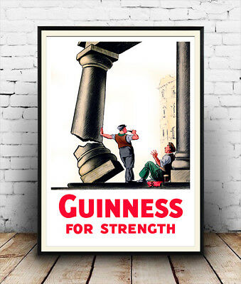Wall art vintage drink  advert Reproduction. Poster Guinness for strength