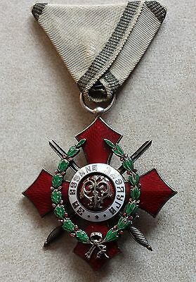 RARE BULGARIAN KNIGHT'S CROSS ROYAL ORDER FOR MILITARY MERIT 5 cl 1933 w/ HONORS