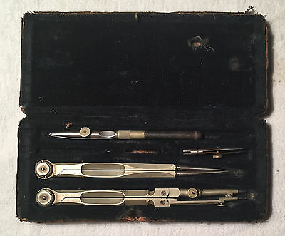 English Make Antique cased Architect Engineers Drafting Set Drawing Set PARTIAL