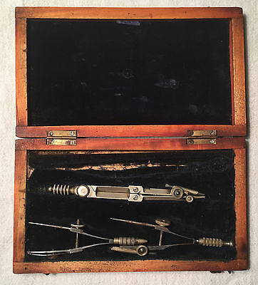 English Antique cased Architect Engineers Drafting Set Drawing Set **PARTIAL**