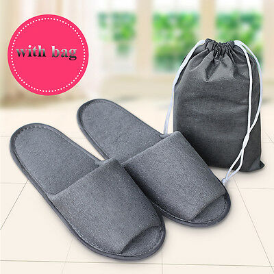 Breathable Non Disposable Slippers Foldable Hotel SPA With A Storage Bag New
