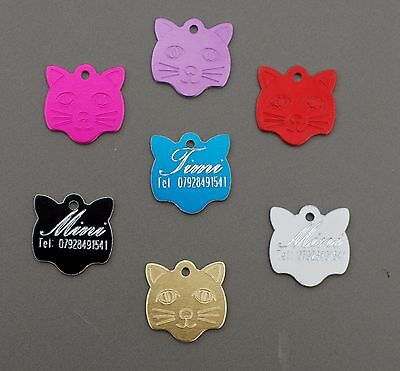 Engraved Personalised Pet Id   Cat Tag Collar Name Disc Disk Tags Post Free!