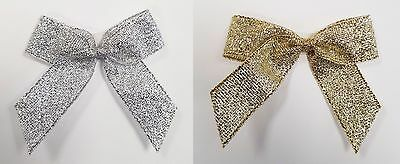1, 6 or 12 Pack Self Adhesive 5cm Pre Tied Metallic Lurex Bows 16mm Ribbon