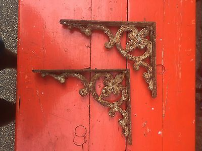 Victorian Cast Iron Decorative Shelf Brackets , Antique Architectural Salvage