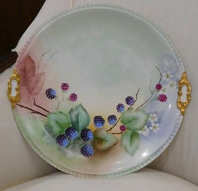 Antique Hand Painted Porcelain Charger, Cookie Plate, Blackberries, Limoges