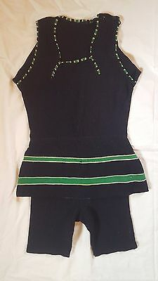 Vintage 1920's Women's/Men's Navy and Green Wool Knit Swimsuit Bathing Suit
