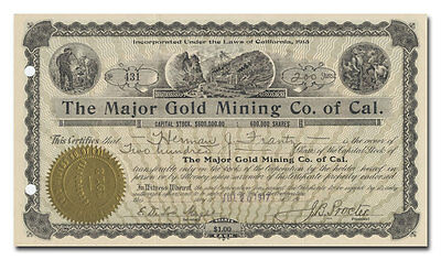 Major Gold Mining Co. of Cal. Stock Certificate