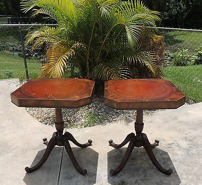 Pair Antique (2) Duncan Phyfe Mahogany Leather Top Pedestal End Tables