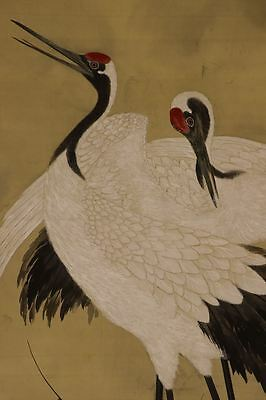 """JAPANESE HANGING SCROLL ART Painting """"Cranes"""" Asian antique  #E6505"""