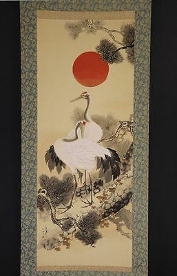 """JAPANESE HANGING SCROLL ART Painting """"Cranes"""" Asian antique  #E6490"""