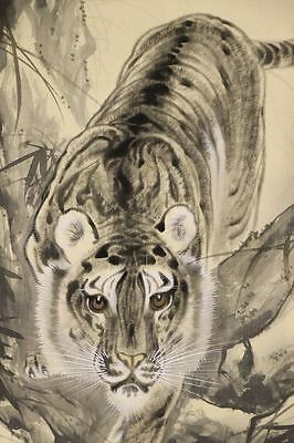 """JAPANESE HANGING SCROLL ART Painting """"Tiger"""" Asian antique  #E6502"""