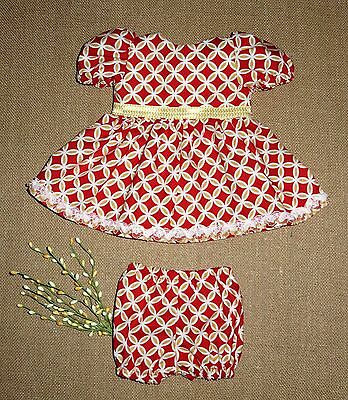 "Handmade Doll Clothes for 18"" - 20"" Baby Dolls - ""Pretty Girl"" Red Dress Set"
