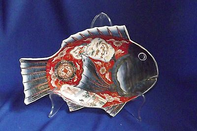 Great Antique Japanese Meiji Period Imari Fish Plate 9 3/4 Inches Long