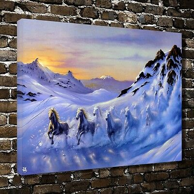 Fantasy snow horses HD Canvas Print Home Decor Paintings Wall Art Pictures