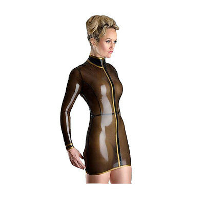 Sexy Latex Rubber Tight Apron Unisex with Yellow Edge Costumes Gummi 0.4mm
