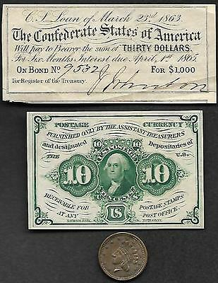 FR # 1242 10 C FIRST  Issue C.S.A. BOND COUPON & C W 1864 UNION FOR EVERY TOKEN