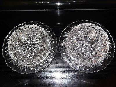 Pair of Vintage Crystal Depression Glass Butter Dishes Round with Lids