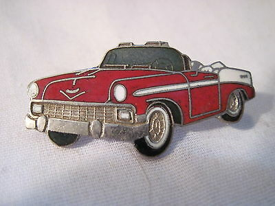 Chevy  1956  Chevrolet Red Convertible  Car   Hat,lapel Pin