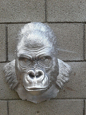 Silver  African Primate Gorilla Ape Head Bust Hanging Wall Mount Decor Statue