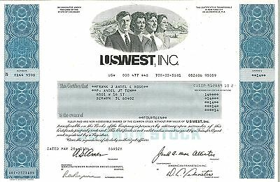 US WEST Inc > 1986 Colorado old stock certificate share