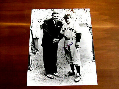 Yogi Berra Yankees Hof Catcher With Babe Ruth Signed Auto 8 X 10 Photo Steiner