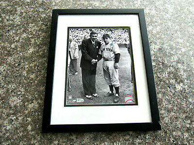 Yogi Berra Yankees Hof With Babe Ruth Signed Auto Framed 8 X 10 Photo Steiner