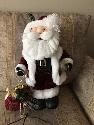 Fiber Optic Santa Claus Stands 20 Inches Tall Changes Colors Works Great