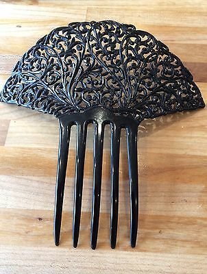 Large Antique Vintage Mantilla Black Celluloid Hair Comb Ornament