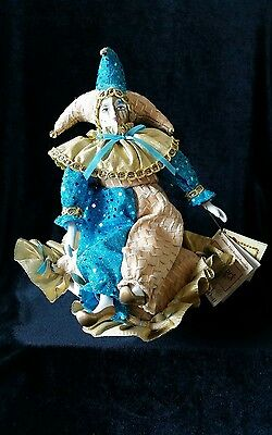 Vintage Musical Revolving Jester Doll, Fine hand painted Bisque Porcelain, great